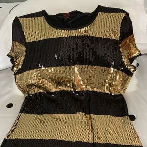 Black and Gold Sequins top